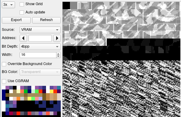 The packed tiles, as seen in grayscale in a SNES debugger