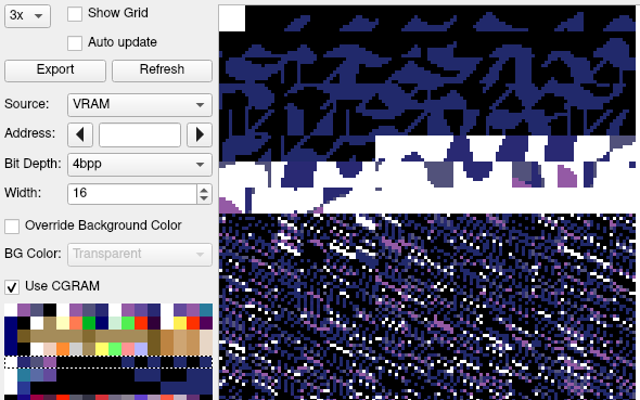 The packed tiles, as seen with palette 4 in a SNES debugger