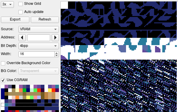 The packed tiles, as seen with palette 5 in a SNES debugger