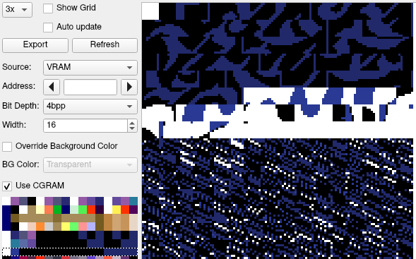 The packed tiles, as seen with palette 6 in a SNES debugger